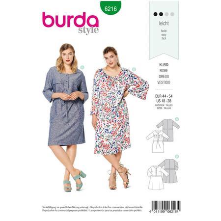 Wykrój BURDA: sukienka zzapięciem zprzodu na guziki oraz panelem wtalii, fig. 1