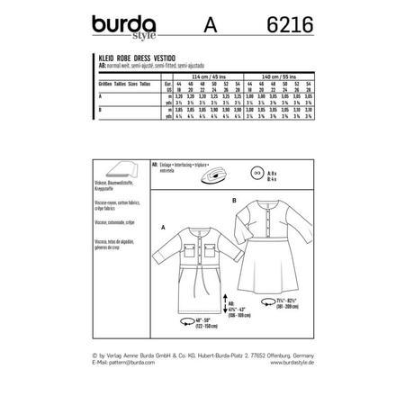 Wykrój BURDA: sukienka zzapięciem zprzodu na guziki oraz panelem wtalii, fig. 7