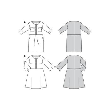Wykrój BURDA: sukienka zzapięciem zprzodu na guziki oraz panelem wtalii, fig. 8