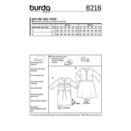 Wykrój BURDA: sukienka zzapięciem zprzodu na guziki oraz panelem wtalii, fig. 6