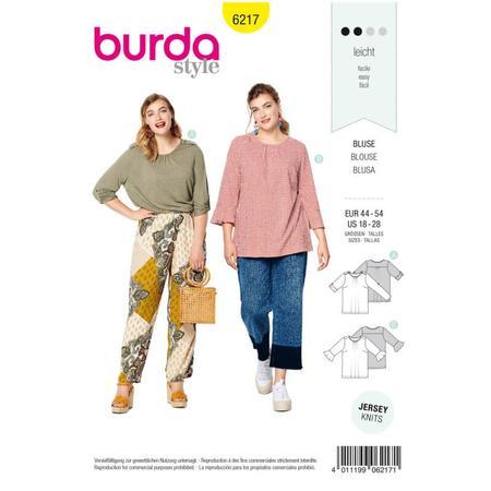 Wykrój BURDA: bluzka zpodwijanymi rękawami albo z rękawami zwolantami, fig. 1