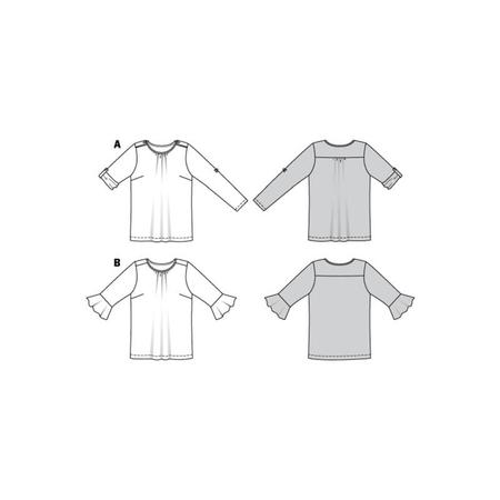 Wykrój BURDA: bluzka zpodwijanymi rękawami albo z rękawami zwolantami, fig. 10