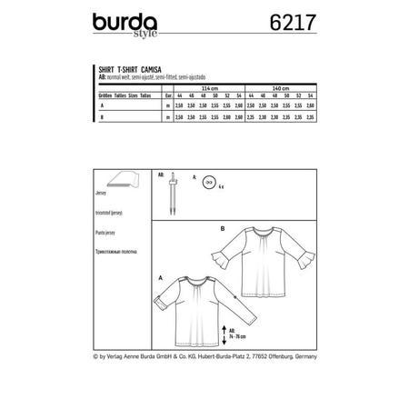 Wykrój BURDA: bluzka zpodwijanymi rękawami albo z rękawami zwolantami, fig. 8