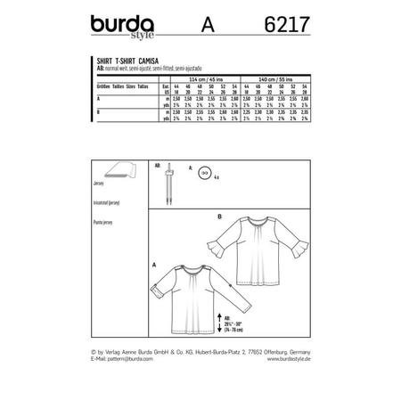 Wykrój BURDA: bluzka zpodwijanymi rękawami albo z rękawami zwolantami, fig. 9