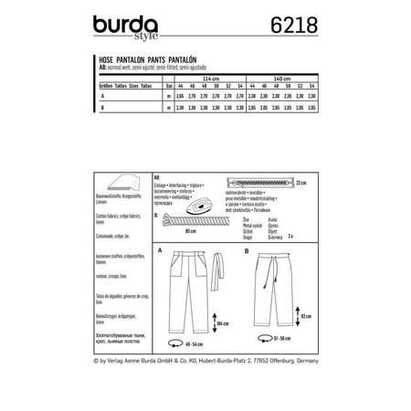 Wykrój BURDA: spodnie o prostym kroju z naszywanymi kieszeniami, fig. 6