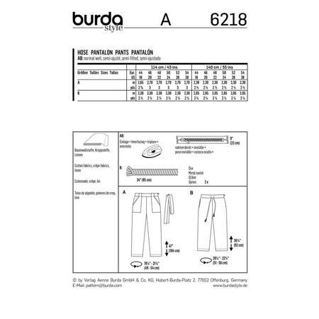Wykrój BURDA: spodnie o prostym kroju z naszywanymi kieszeniami, fig. 7
