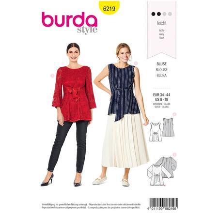 Wykrój BURDA: bluzka bez rękawów, dwuwarstwowa, z paskami wiązanymi zprzodu, fig. 1