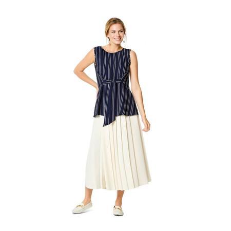 Wykrój BURDA: bluzka bez rękawów, dwuwarstwowa, z paskami wiązanymi zprzodu, fig. 2
