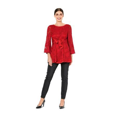 Wykrój BURDA: bluzka bez rękawów, dwuwarstwowa, z paskami wiązanymi zprzodu, fig. 3