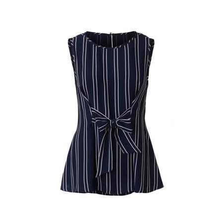 Wykrój BURDA: bluzka bez rękawów, dwuwarstwowa, z paskami wiązanymi zprzodu, fig. 4