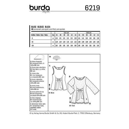 Wykrój BURDA: bluzka bez rękawów, dwuwarstwowa, z paskami wiązanymi zprzodu, fig. 7