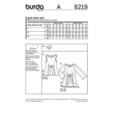Wykrój BURDA: bluzka bez rękawów, dwuwarstwowa, z paskami wiązanymi zprzodu, fig. 8