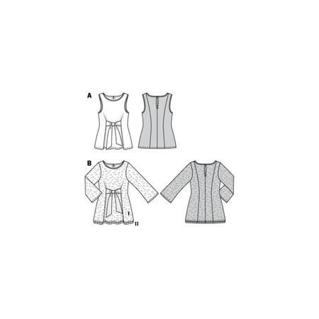 Wykrój BURDA: bluzka bez rękawów, dwuwarstwowa, z paskami wiązanymi zprzodu, fig. 9