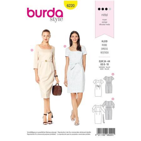 Wykrój BURDA: prosta sukienka zdekoltem karo, fig. 1