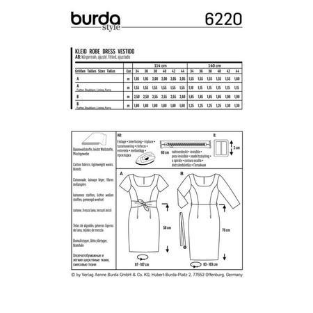 Wykrój BURDA: prosta sukienka zdekoltem karo, fig. 8