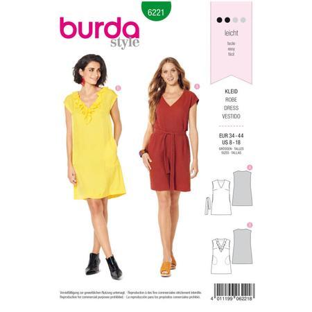 Wykrój BURDA: sukienka bez rękawów zdekoltem wserek i falbaną, o luźnym kroju, fig. 1