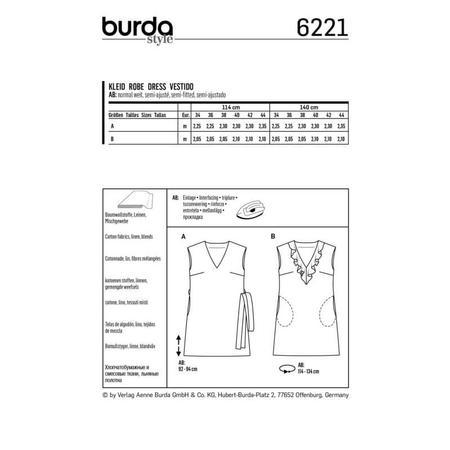 Wykrój BURDA: sukienka bez rękawów zdekoltem wserek i falbaną, o luźnym kroju, fig. 8