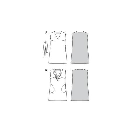 Wykrój BURDA: sukienka bez rękawów zdekoltem wserek i falbaną, o luźnym kroju, fig. 10