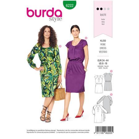 Wykrój BURDA: sukienka z zakładkami przy dekolcie i raglanowymi rękawami, fig. 1