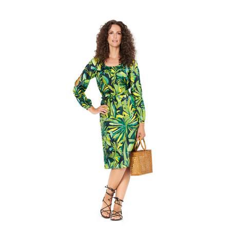 Wykrój BURDA: sukienka z zakładkami przy dekolcie i raglanowymi rękawami, fig. 3