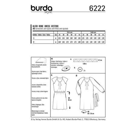 Wykrój BURDA: sukienka z zakładkami przy dekolcie i raglanowymi rękawami, fig. 8
