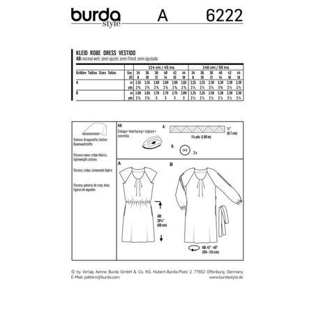 Wykrój BURDA: sukienka z zakładkami przy dekolcie i raglanowymi rękawami, fig. 9