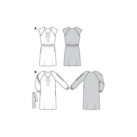 Wykrój BURDA: sukienka z zakładkami przy dekolcie i raglanowymi rękawami, fig. 10
