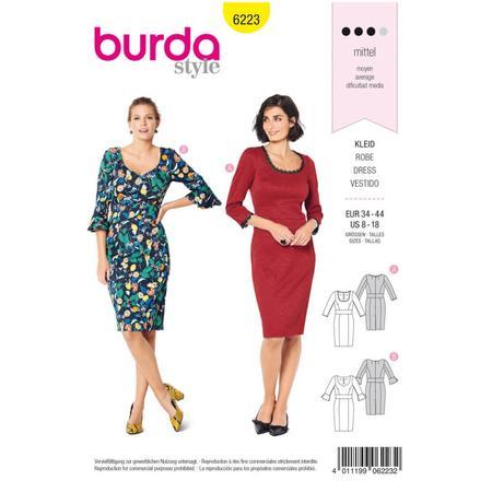 Wykrój BURDA: sukienka z panelem w talii i dwoma rodzajami dekoltu, fig. 1