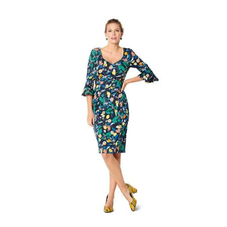 Wykrój BURDA: sukienka z panelem w talii i dwoma rodzajami dekoltu, fig. 3