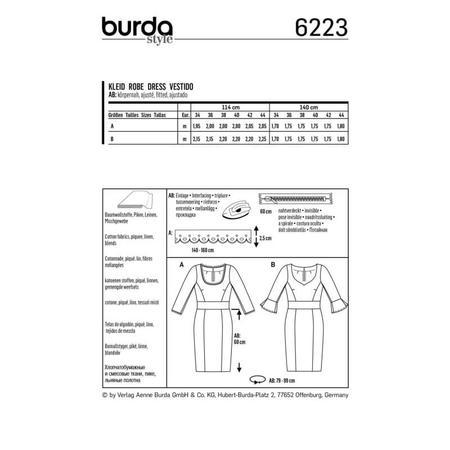 Wykrój BURDA: sukienka z panelem w talii i dwoma rodzajami dekoltu, fig. 8