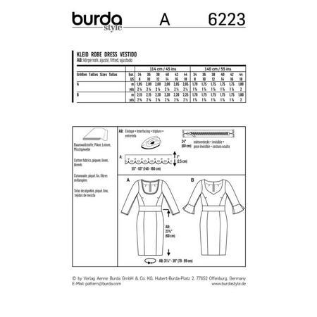 Wykrój BURDA: sukienka z panelem w talii i dwoma rodzajami dekoltu, fig. 9
