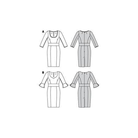 Wykrój BURDA: sukienka z panelem w talii i dwoma rodzajami dekoltu, fig. 10