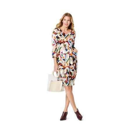 Wykrój BURDA: sukienka zdekoltem wserek, spódnicą zzakładkami iogromnymi kieszeniami, fig. 2