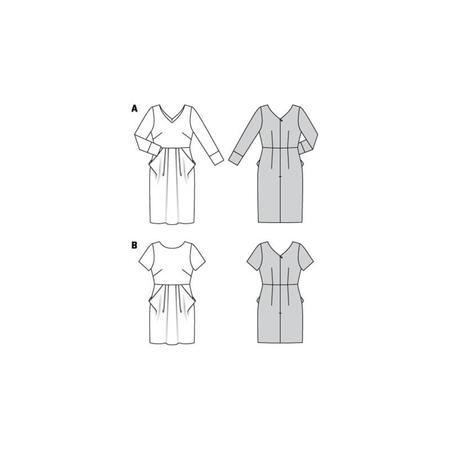 Wykrój BURDA: sukienka zdekoltem wserek, spódnicą zzakładkami iogromnymi kieszeniami, fig. 10
