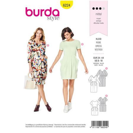 Wykrój BURDA: sukienka zdekoltem wserek, spódnicą zzakładkami iogromnymi kieszeniami, fig. 1