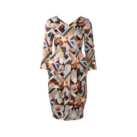 Wykrój BURDA: sukienka zdekoltem wserek, spódnicą zzakładkami iogromnymi kieszeniami, fig. 4