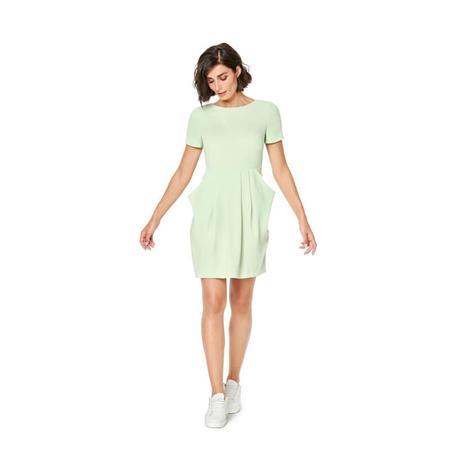 Wykrój BURDA: sukienka zdekoltem wserek, spódnicą zzakładkami iogromnymi kieszeniami, fig. 3