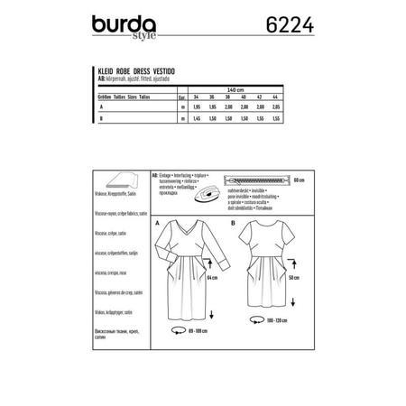 Wykrój BURDA: sukienka zdekoltem wserek, spódnicą zzakładkami iogromnymi kieszeniami, fig. 8