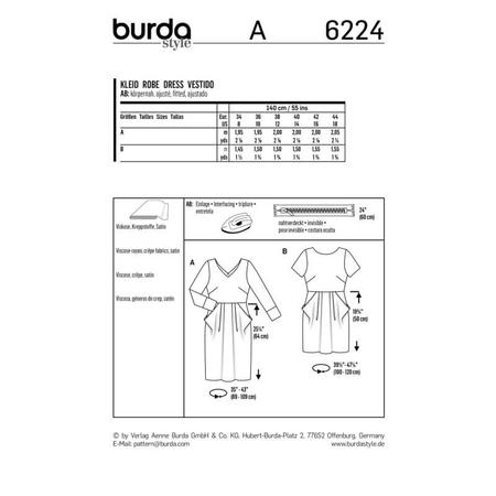 Wykrój BURDA: sukienka zdekoltem wserek, spódnicą zzakładkami iogromnymi kieszeniami, fig. 9