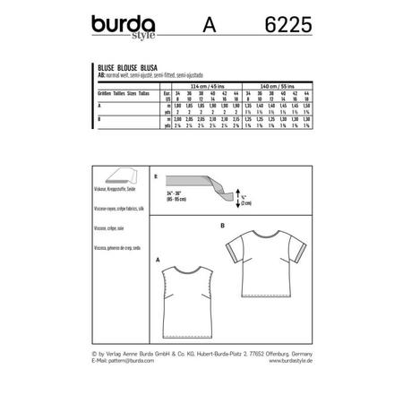 Wykrój BURDA: bluzka itop o prostej formie, fig. 9