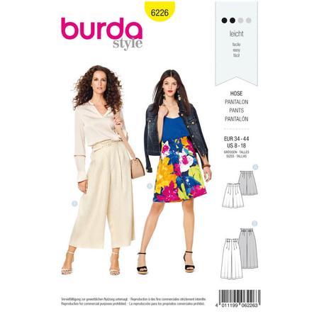 Wykrój BURDA: spodnie bermudy ikuloty zzakładkami, fig. 1