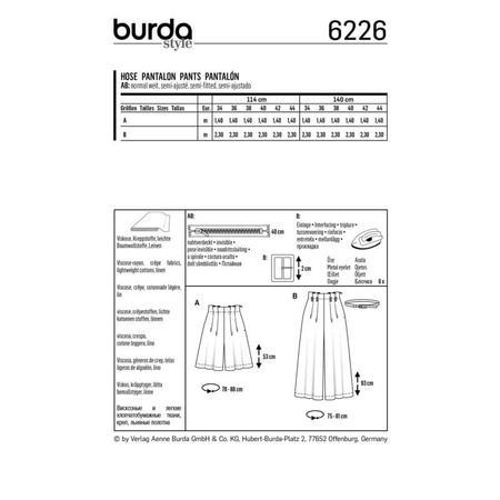 Wykrój BURDA: spodnie bermudy ikuloty zzakładkami, fig. 8