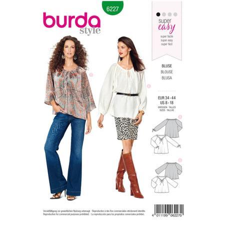 Wykrój BURDA: bluzka zdekoltem carmen i tunelem na tasiemkę, fig. 1