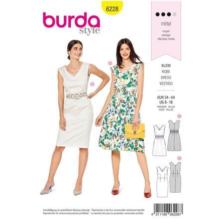 Wykrój BURDA: sukienka zdekoracyjnym marszczeniem + sukienka ołówkowa zdekoltem wszpic, fig. 1
