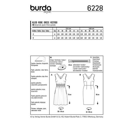 Wykrój BURDA: sukienka zdekoracyjnym marszczeniem + sukienka ołówkowa zdekoltem wszpic, fig. 8