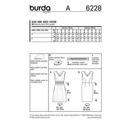 Wykrój BURDA: sukienka zdekoracyjnym marszczeniem + sukienka ołówkowa zdekoltem wszpic, fig. 9