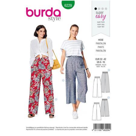 Wykrój BURDA: spodnie zgumą wpasie ikieszeniami wszwach bocznych, zszerokimi nogawkami, fig. 1