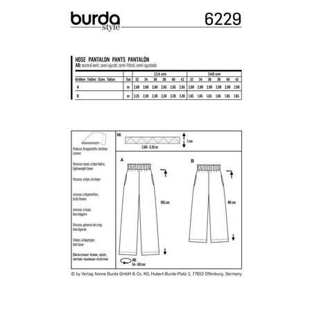 Wykrój BURDA: spodnie zgumą wpasie ikieszeniami wszwach bocznych, zszerokimi nogawkami, fig. 8