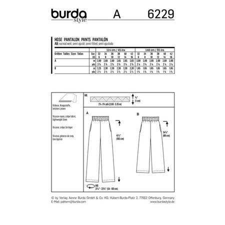 Wykrój BURDA: spodnie zgumą wpasie ikieszeniami wszwach bocznych, zszerokimi nogawkami, fig. 9
