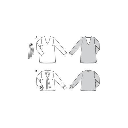 Wykrój BURDA: bluzka zdekoltem wszpic, fig. 10